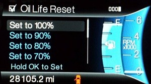 reset oil life MyFord touch