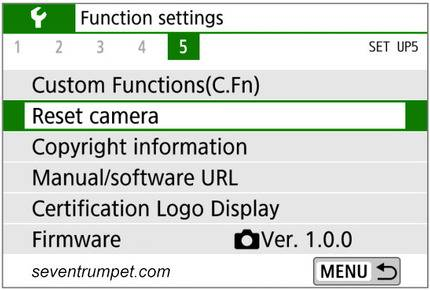 canon factory settings reset